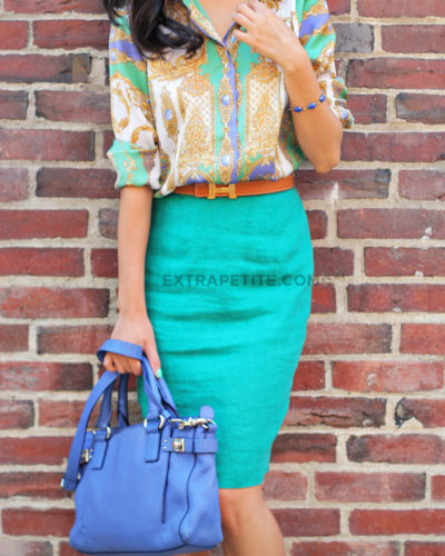 Summer Brights: $2 Linen Skirt + Scarf Print Blouse