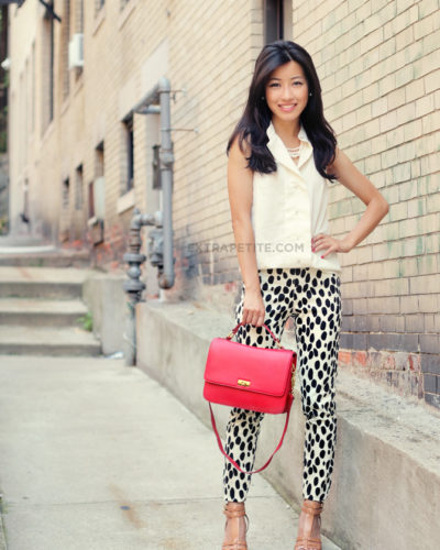 Spotted Slim Pants + J.Crew Red Edie Bag (now on sale)