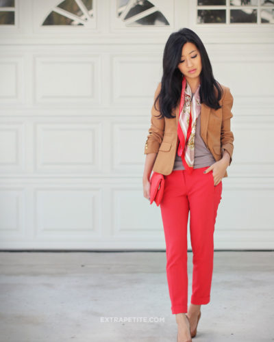 California Winter: Cheery reds + silk printed scarf