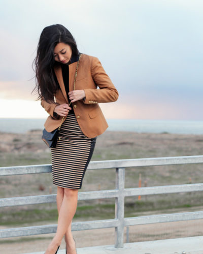 Warm winter days: Caramel stripes + leather panels