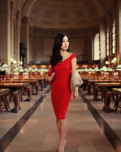 ASOS little red dress at the Boston Public Library