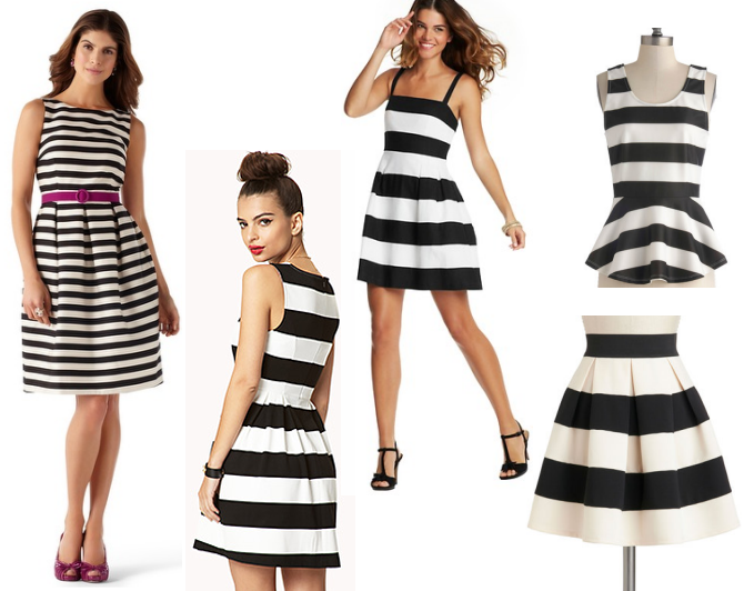 Striped Fit and Flare dresses
