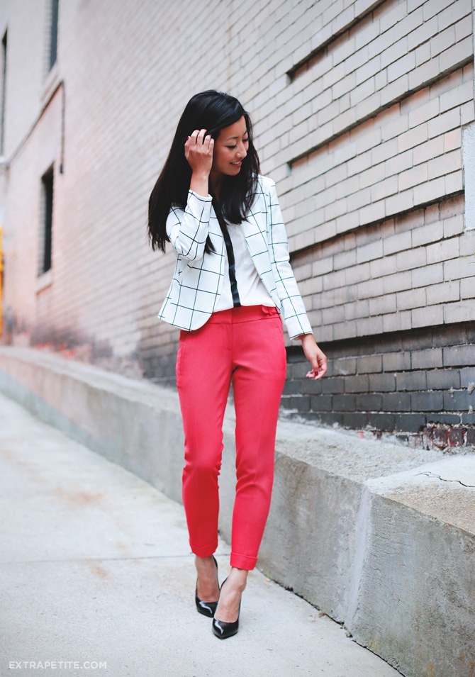 windowpane blazer red pants