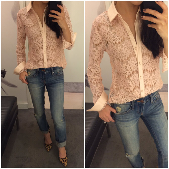ann taylor lace button up shirt