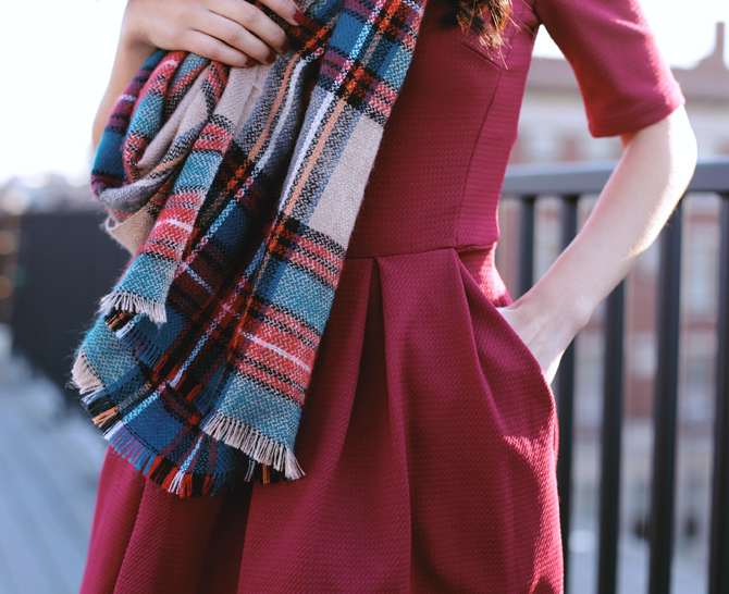 holiday party red dress plaid scarf