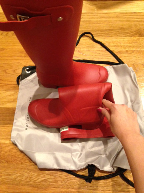 hunter boots folded