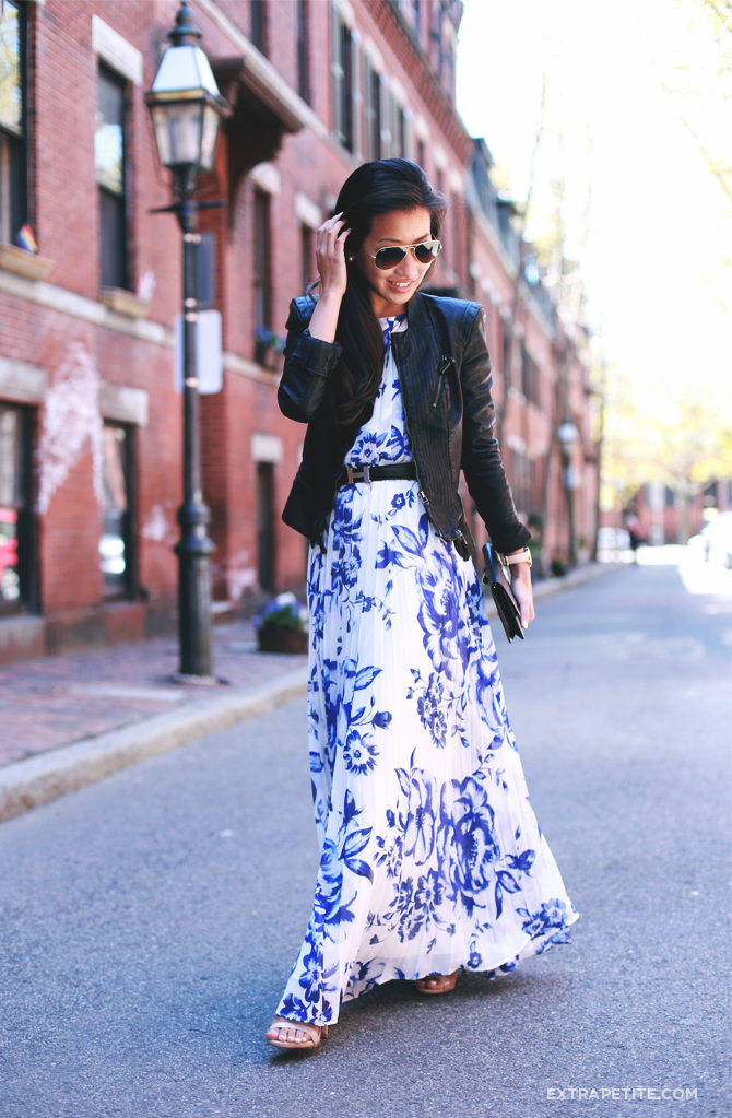 floral maxi dress leather moto jacket1