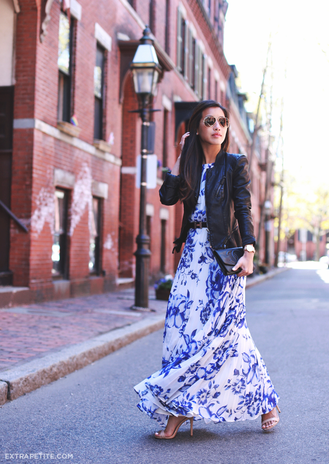 floral maxi dress leather moto jacket2