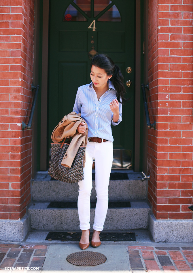 white jeans striped shirt outfit1