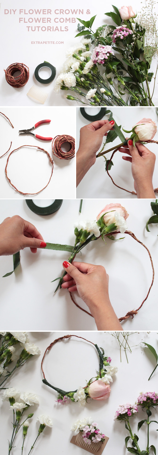 Flower crown comb diy tutorial bridal shower activity extra petite diy flower crown floral comb tutorial bridal izmirmasajfo Images