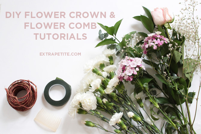 DIY flower crown floral comb tutorial header