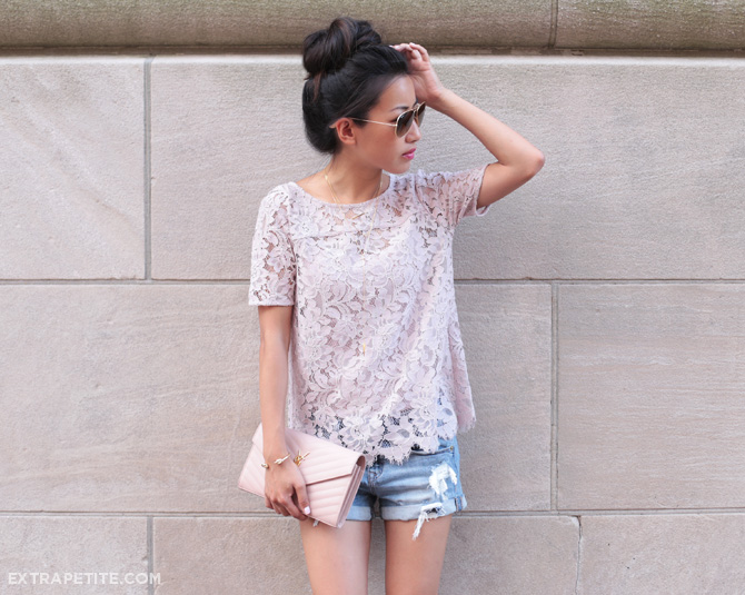 loft lace tee denim shorts