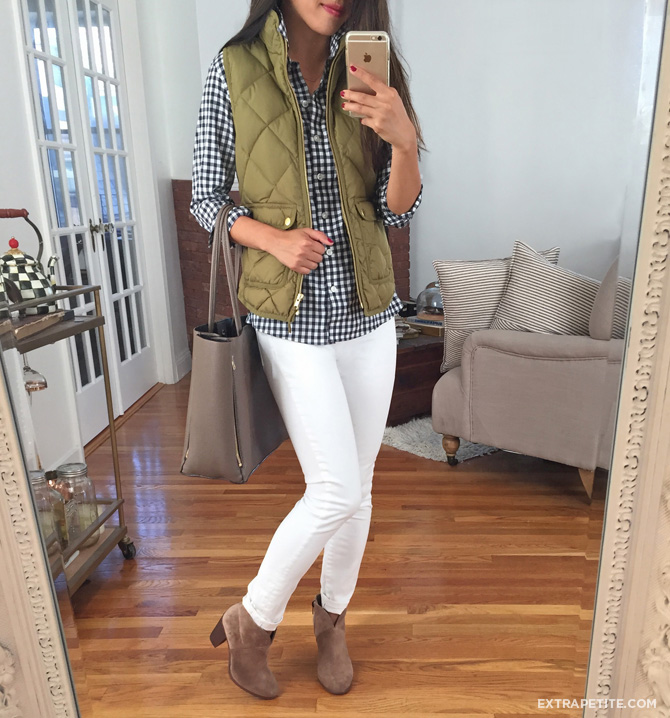 jcrew vest gingham shirt white jeans outfit
