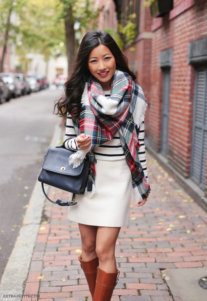 fall outfit plaid scarf riding boots