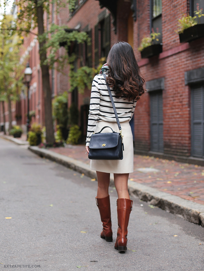 fall outfit striped shirt riding boots