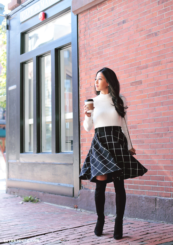 fall outfit - plaid circle skirt sweater boots1