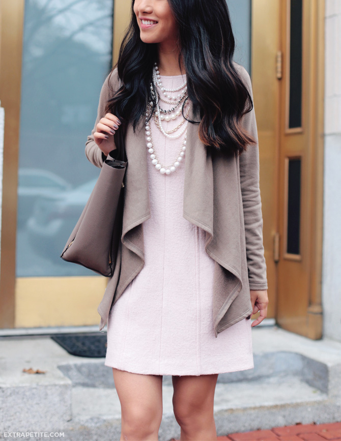 sheath dress drape cardigan work outfit