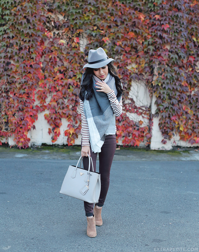 Napa fall outfit burgundy gray blanket scarf