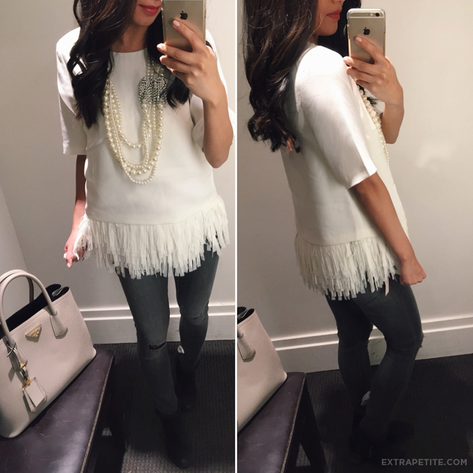 banana republic fringe feather top