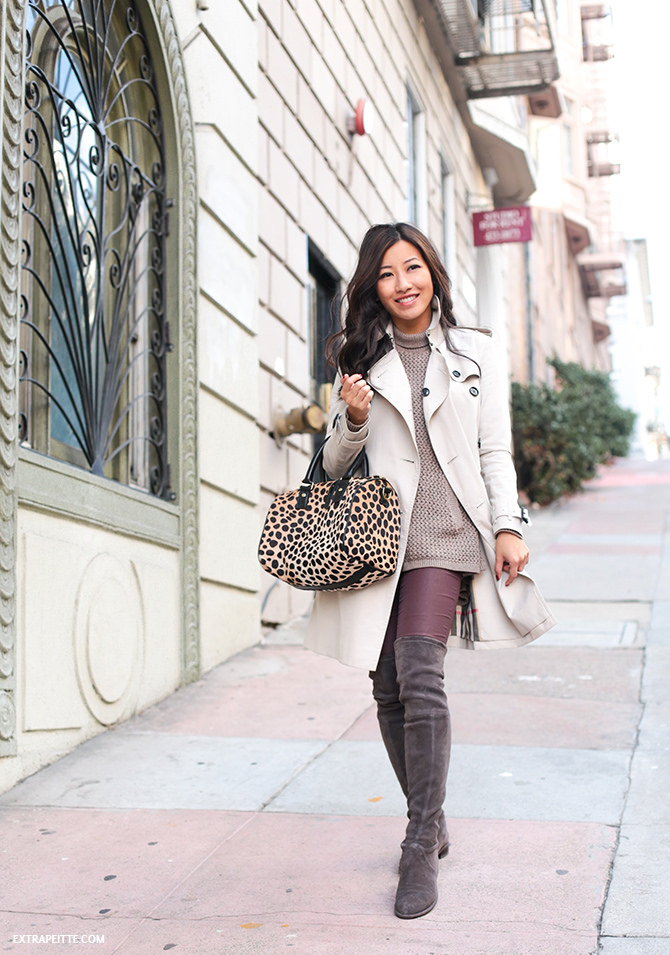 san francisco outfit - burberry trench tall boots