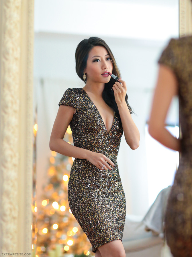 holiday asian smokey eye makeup sequin dress