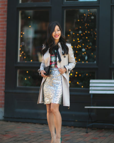 Plaid, Bow + Sequins // Holiday office party outfit ideas