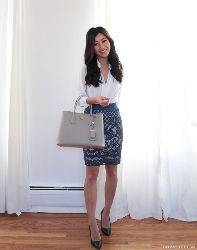 bluel white lace skirt work outfit prada bag