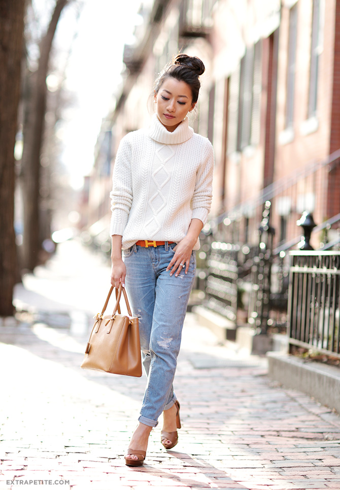 cable knit sweater distressed jeans petite fashion