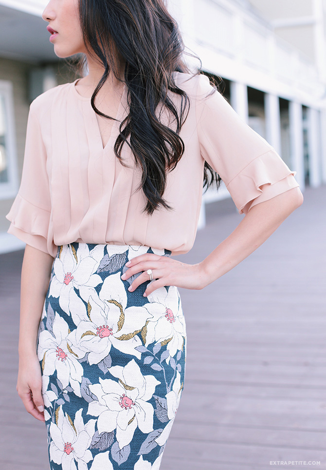 spring office fashion peach pink ruffle navy linen floral skirt