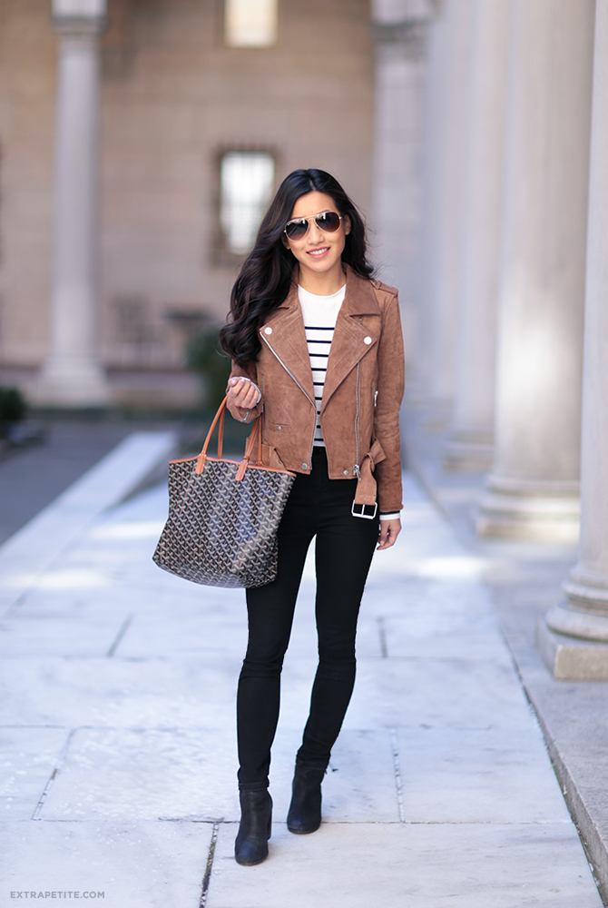 suede jacket striped tee casual boston outfit