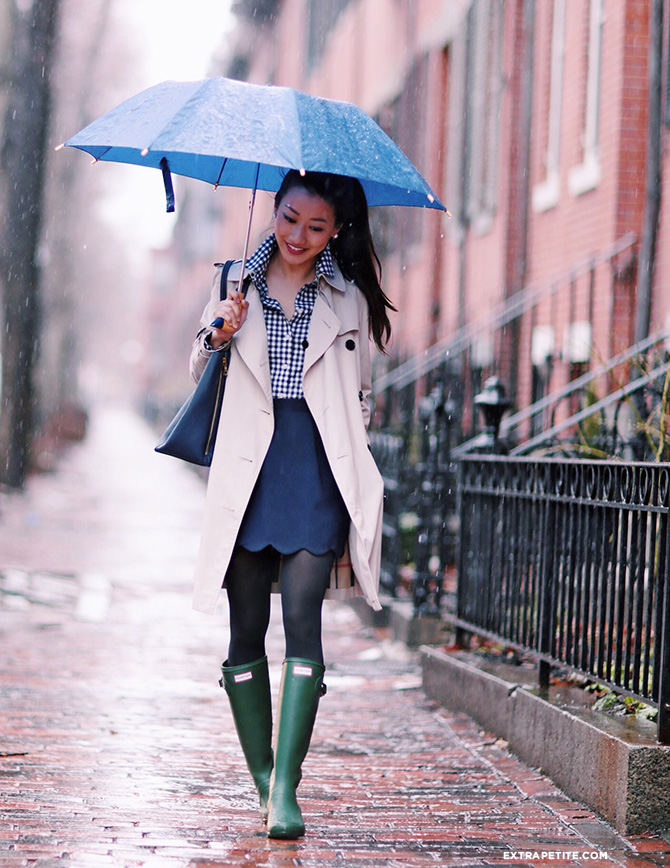 rainy day boots new england preppy gingham outfit