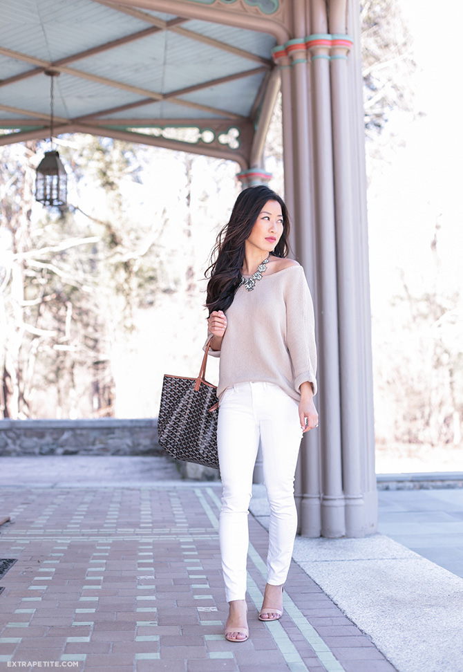 white jeans tan sweater spring outfit petite goyard st louis tote