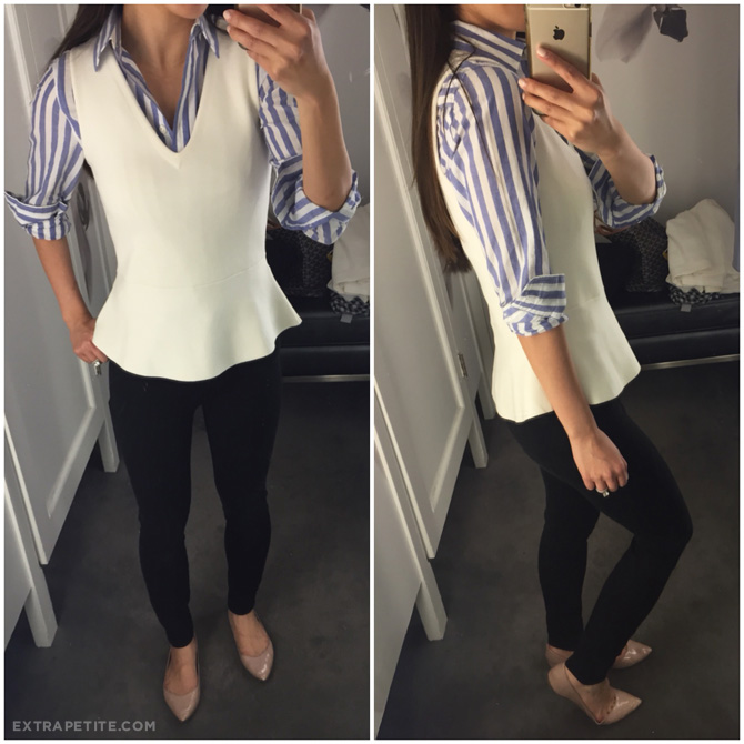 ann taylor petite peplum top outfit