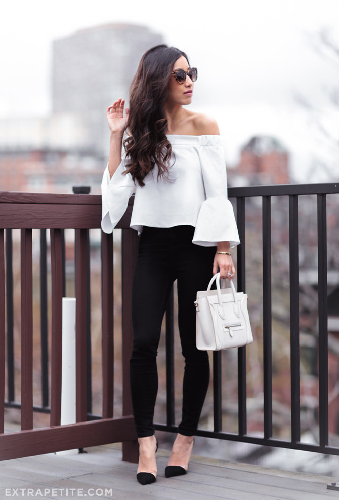 off shoulder ruffle top asos jbrand maria jeans outfit