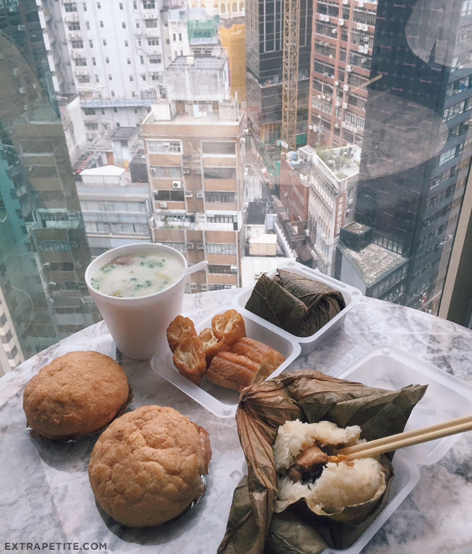 hong kong chinese breakfast pineapple buns congee