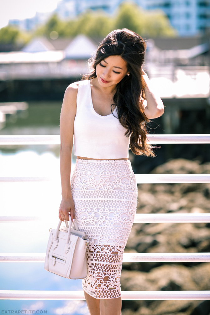 white lace pencil skirt outfit celine luggage nano bag