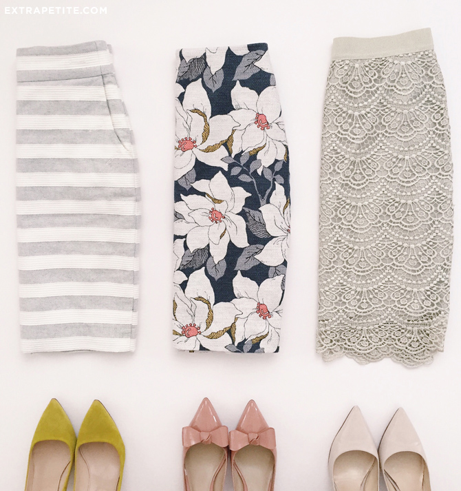 work fashion_pencil skirt floral stripes pumps