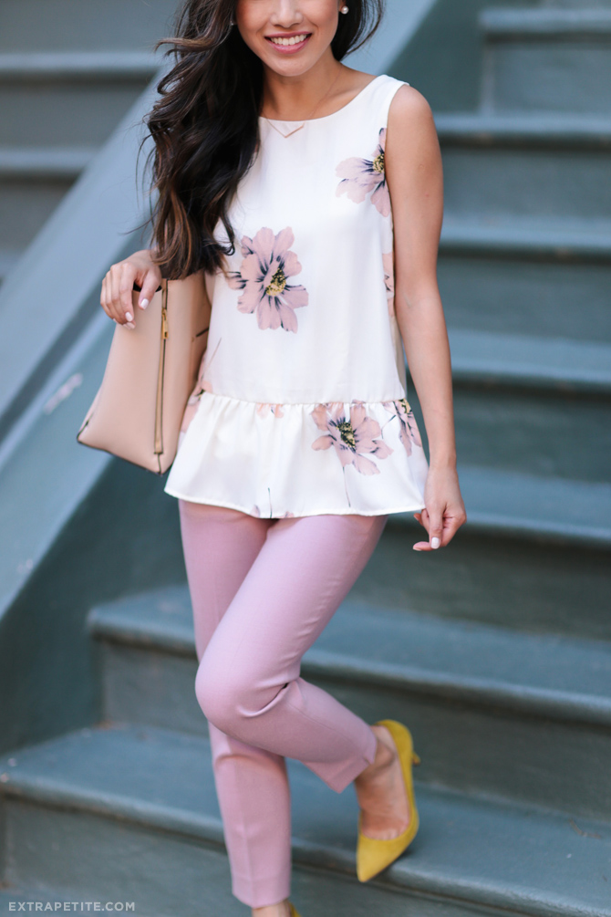 floral peplum top jcrew petite ankle pants