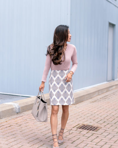 Pink + Gray // Printed Skirt + Suede Lace Up Pumps