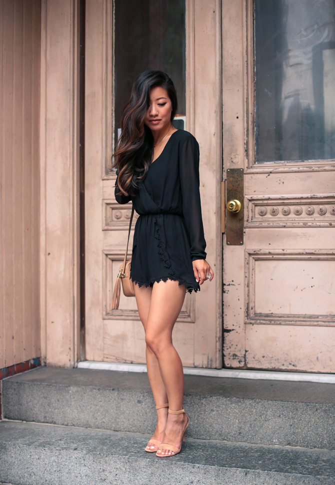 black lace romper outfit_asian black hair balayage