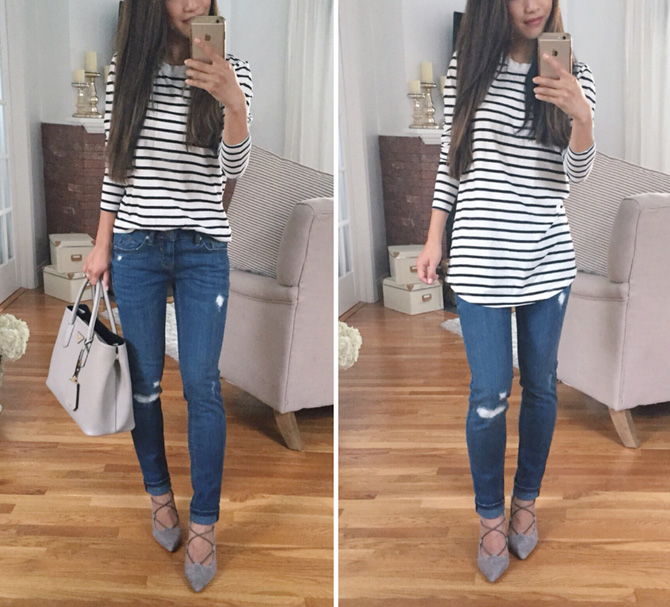bp striped tunic tee vigoss jeans outfit extra petite