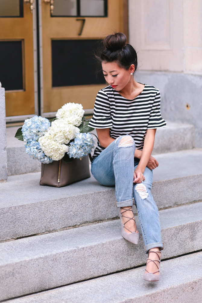striped tee ripped jeans casual classic outfit_extra petite boston