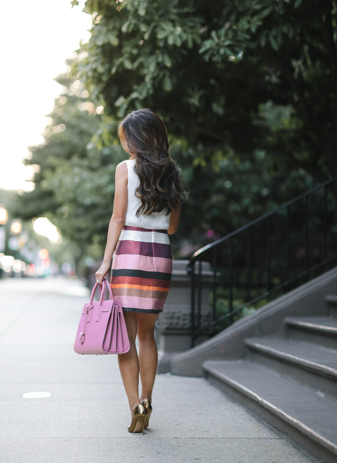 boston fall pink stripes outfit_ysl sac de jour bag