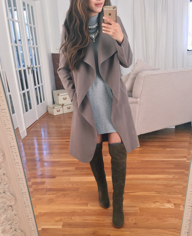over the knee otk boots dress wrap jacket fall outfit
