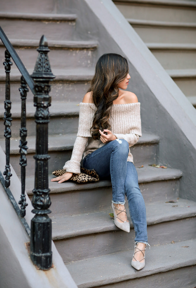 fall style off the shoulder sweater sole society heels