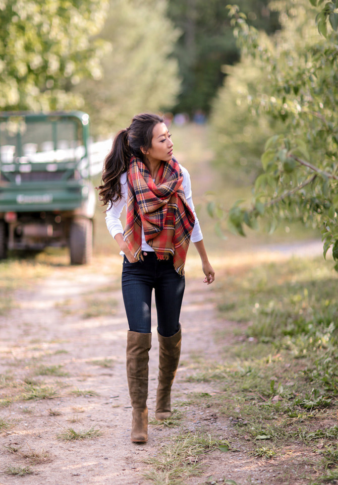 fall style plaid blanket scarf white tee tall boots