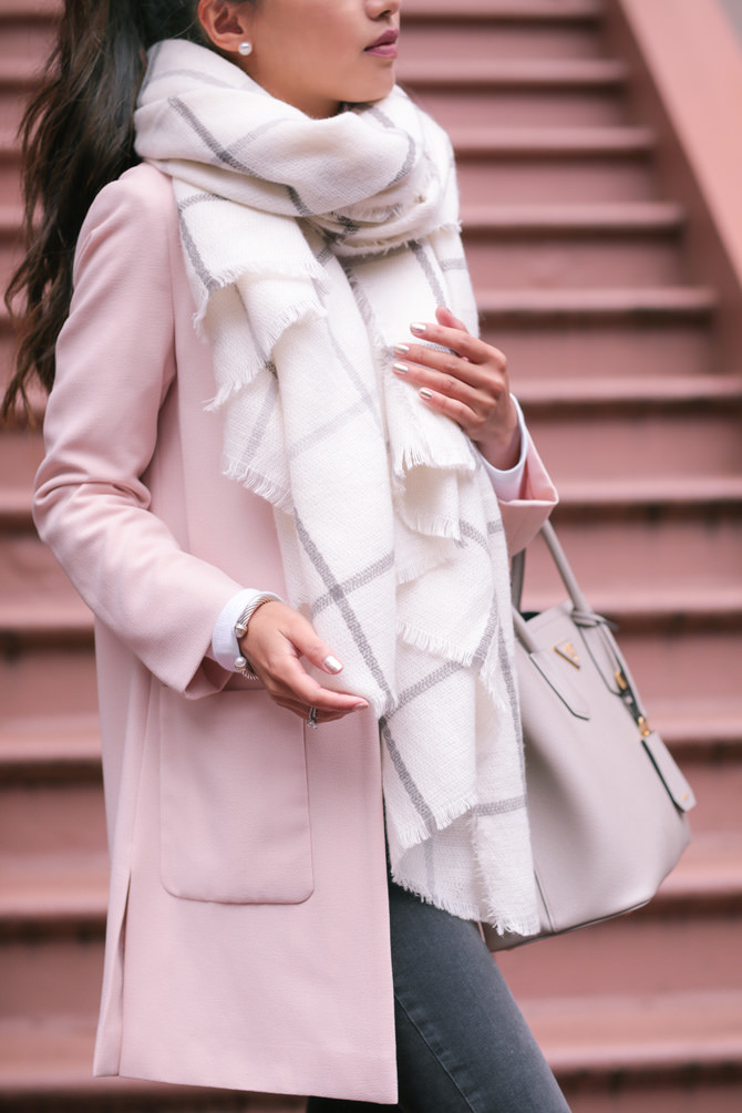 Fall Hues: soft pink jacket   cream blanket scarf - Extra Petite