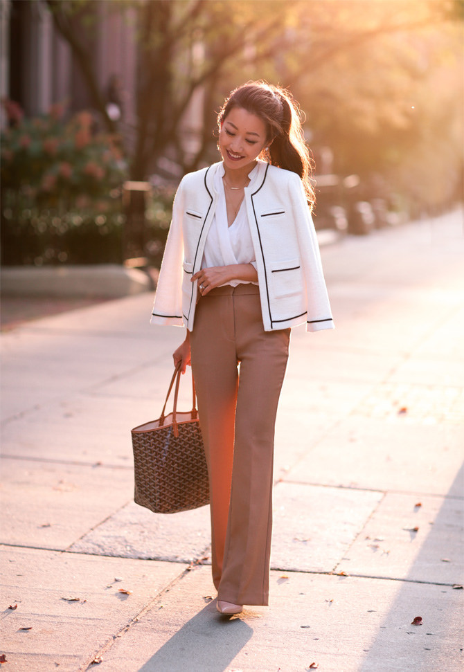 camel trouser pants tweed jacket work outfit