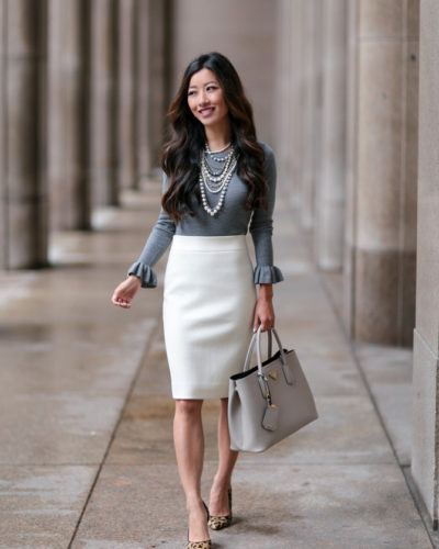 Ann Taylor Fall Arrivals // Classic in Cream, Pearls + Gray Ruffles