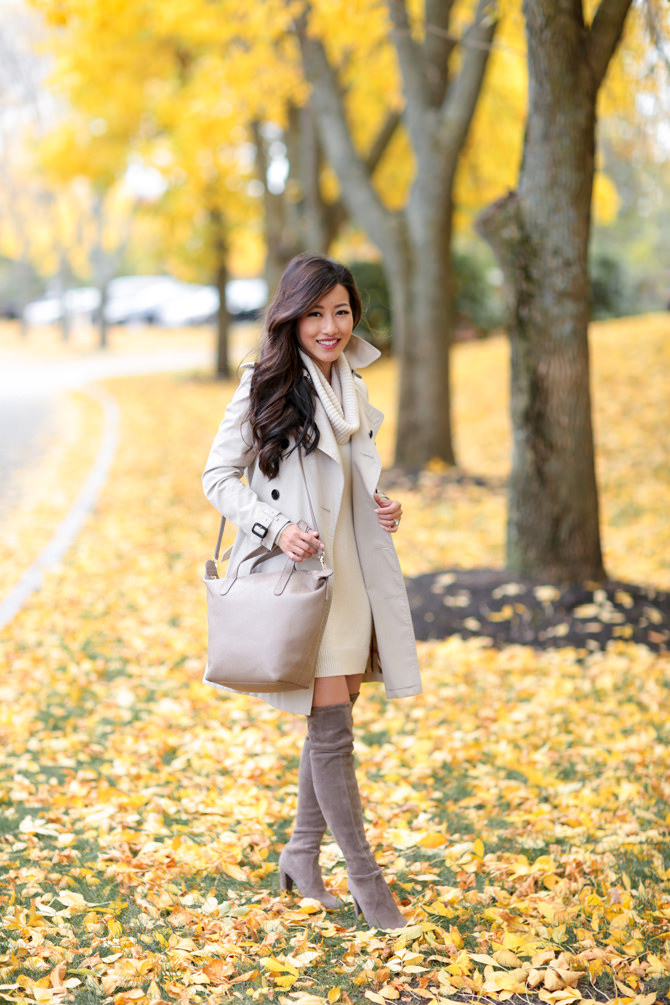 Fall outfit burberry trench stuart weitzman suede boots sweater dress